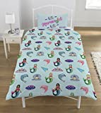 Emoji Single Duvet Cover Emoji 'mermaids And Unicorns Duvet Set, Polyester-cotton, Multi, Single