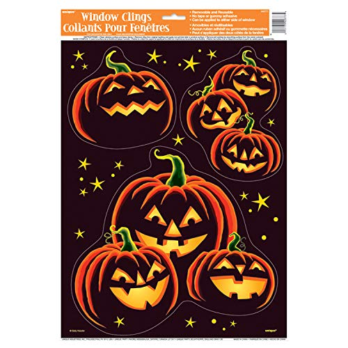(Unique Pumpkin Grin Window Cling Sheet | Removable and Reusable Clings | Autumn, Fall, Thanksgiving, Halloween Wall and Window)
