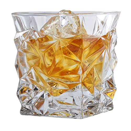 Set of 4 Jagged-Ice Textured Whiskey Tumblers 8 oz Old Fashioned Bourbon & Scotch Glasses in Gift Box ()