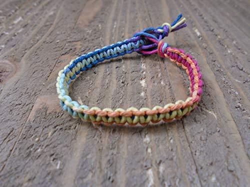 Handmade Hemp - BEACH HEMP JEWELRY Rainbow Hemp Bracelet Handmade In USA