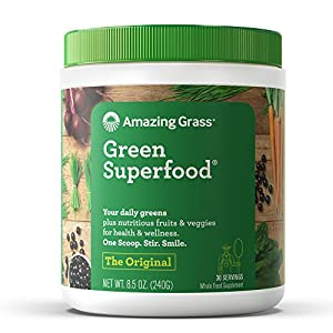 Amazing Grass Green Superfood Organic Powder with Wheat Grass and Greens, Flavor: Original, 30 Servings