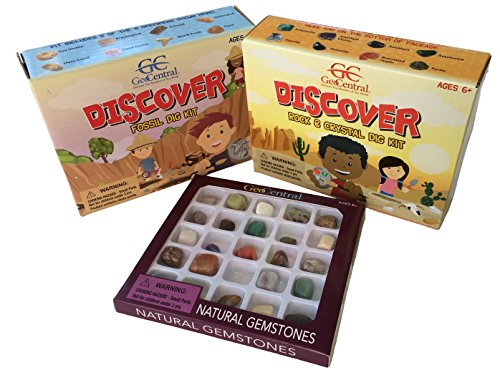 Science Rocks Bundle With Rock and Crystals Excavation Dig Kit, Fossil Excavation Kit, and Gemstones Geology Kit for ()