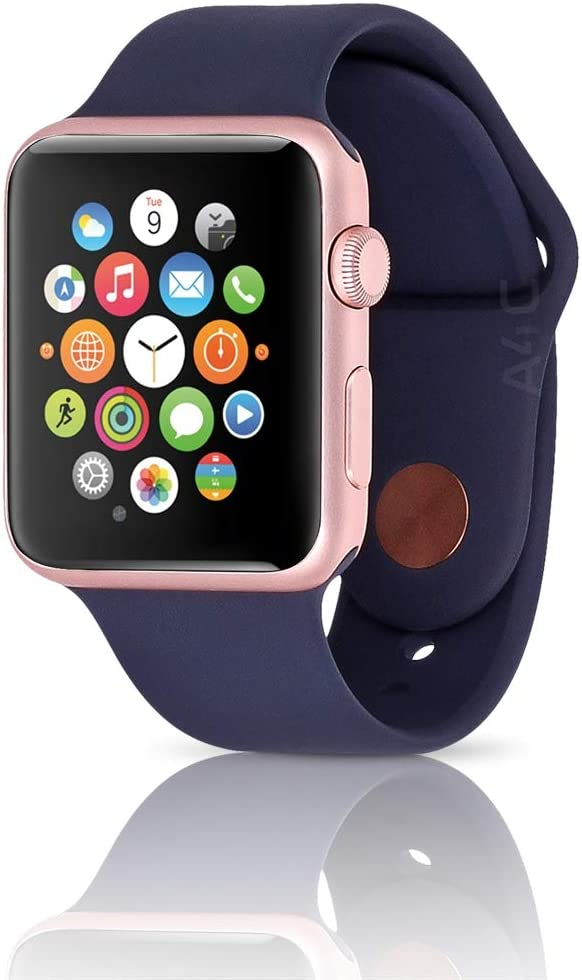 Apple Watch Series 1 Smartwatch 42mm, Rose Gold Aluminum Case/Midnight Blue Sport Band (Newest Model) (Renewed)