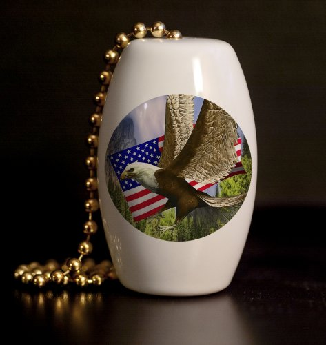 Brass Eagle Barrels (American Eagle and Flag Porcelain Fan / Light Pull)