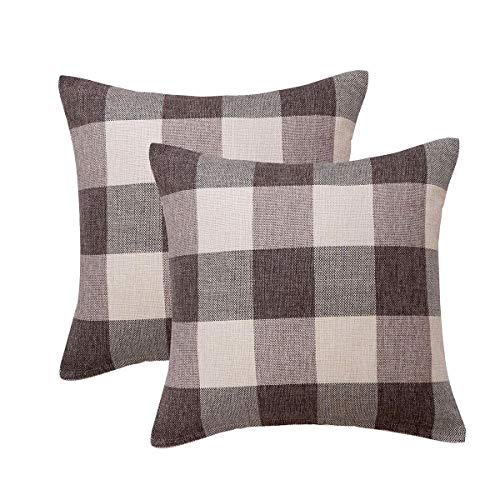 Sunday Praise Pack of 2 Decorative Throw Pillow Covers Retro Checkers Plaids Design Home Decor Set Soft Cotton Linen Square Cushion Cover for Sofa Bedroom Car 18 x 18 Inch 45 x 45 cm Brown