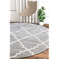 Harbor Trellis Grey Moroccan Lattice Modern Geometric 5 Round (5'3' Round) Area Rug Thick Soft Plush Shed Free