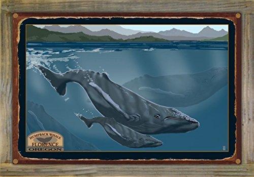 Northwest Art Mall Florence Oregon Humpback Whale Rustic Metal Print on Reclaimed Barn Wood by Mike Rangner (12