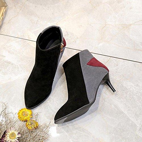 TPulling Herbst Und Winter Frühling Modelle Schuhe Mode Damen Stitching Schlug Mit Schuhen Auf Farblich Spitze Kurze Stiefel Wärme Outdoor Booties Ankle Lässige Schuhe Martin Stiefe Grau