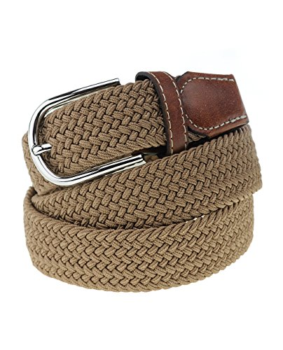 NYFASHION101 Rounded Metal Buckle Brown Inlay Elastic Braided Woven Stretch Belt, Khaki - M