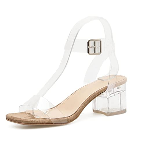 41bfaa58972 Women's Lucite Clear Strappy Block Chunky Low Heel Ankle Strap Adjustable  Peep Toe Sandal