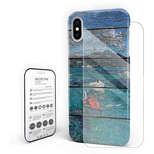 Bali Sea Boat On Worn-Out Wooden Board Phone Case for iPhone X Stylish Design Slim Anti-Fall Hard Plastic Phone Cover with Tempered Gglass Screen Protector