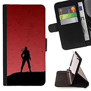 Momo Phone Case / Flip Funda de Cuero Case Cover - Soldier & Red Sky - Sony Xperia Z5 5.2 Inch (Not for Z5 Premium 5.5 Inch)