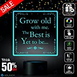 Grow Old with Me The Best is Yet to Be, Robert Browning Quote, Poetry Quote, Decoration lamp, 7 Color Mode, Awesome Gifts (MT225)