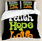 Ambesonne Hope King Size Duvet Cover Set by, Vintage Sixties Inspired Hand Lettering Faith and Love Message with Religious Themes, Decorative 3 Piece Bedding Set with 2 Pillow Shams, Multicolor