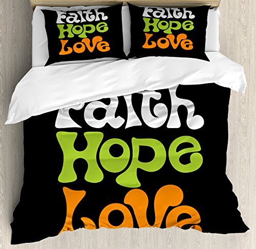 Ambesonne Hope King Size Duvet Cover Set by, Vintage Sixties Inspired Hand Lettering Faith and Love Message with Religious Themes, Decorative 3 Piece Bedding Set with 2 Pillow Shams, Multicolor by Ambesonne