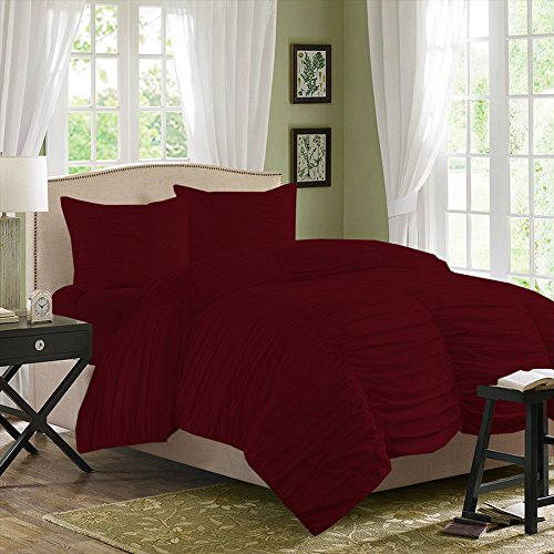 BudgetLinen (1 Gathered Duvet Cover & 2 Pillowcases,Burgundy , Olympic Queen) 100% Egyptian Cotton Luxurious 300 Thread Count