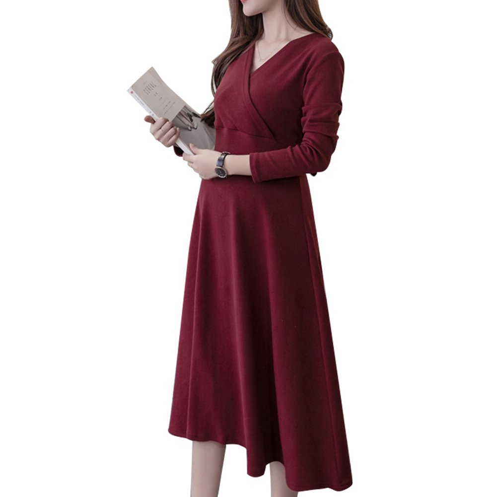Leke Women's Casual Dresses Stretch V-Neck Full Sleeves with Back Tie Wrap Amyland