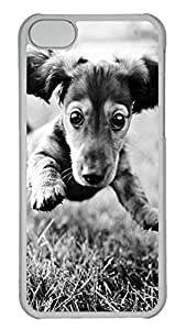Customized iphone 5C PC Transparent Case - Dog Black Cover by mcsharks