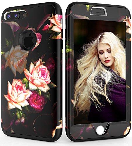 iPhone 7 Plus Case, iPhone 8 Plus Case?ADCOOG [Flower] Three Layers Heavy Duty Case Girls/Women Hybrid Protective Floral Case iPhone 7 Plus,iPhone 8 Plus (Black+Peony)