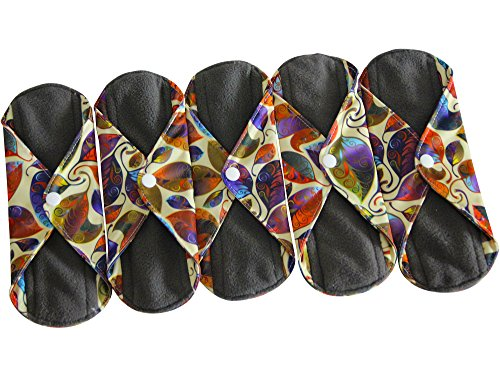 (Sanitary Reusable Cloth Menstrual Pads by Heart Felt. 5 Pack Washable Sanitary Napkins with Charcoal Absorbency Layer - Overnight Long Panty Liners for Comfort and Support)