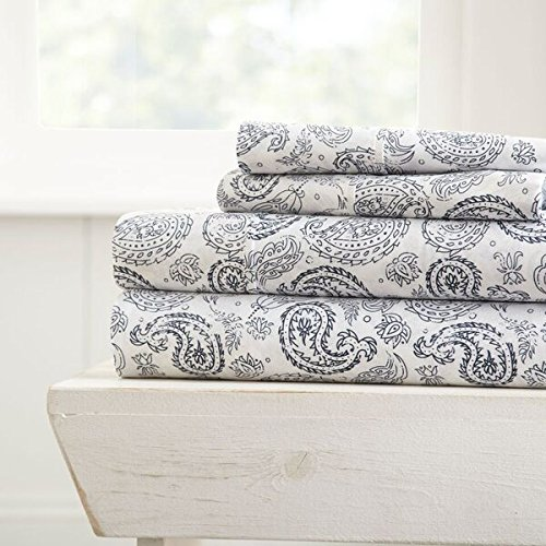 Simply Soft 4 Piece Sheet Set Coarse Paisley Patterned, California King, ()
