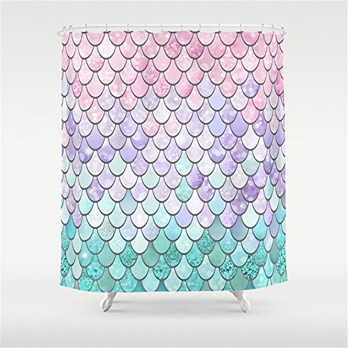 Huisfa Mermaid Pastel Pink Purple Aqua Teal Shower Curtain 72 x 72 inches (Pink And Curtain Shower Purple)