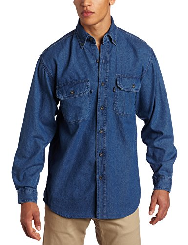 Key Apparel Men's Long Sleeve Washed Denim Shirt, Denim, Medium