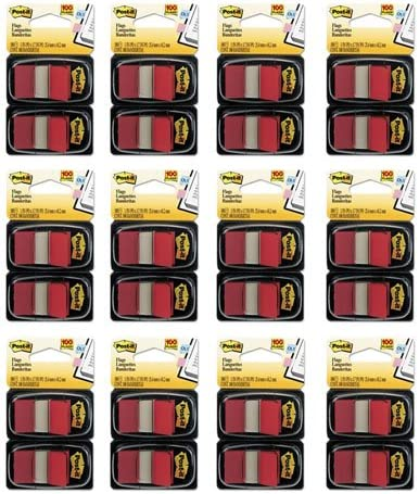 2 Dispensers//Pack 50//Dispenser Post-it/® Flags Red 1 in Wide
