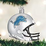 "OLD WORLD CHRISTMAS DETROIT LIONS FOOTBALL HELMET BLOWN GLASS ORNAMENT 3.25"""