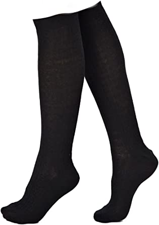 LADIES CHILDRENS OVER-THE-KNEE SOCKS BLACK SIZE 4-6 FREE POSTAGE