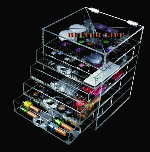Mother's day Gift Better_Life Latest Model Handmade High Quality Fashional 5 Drawers Clear Acrylic Makeup Icebox Jewelry organizer