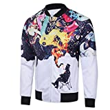 Nevera Mens Autumn Winter Printed Leisure Tops Long Sleeve Casual Round Coller Coat (M, White)