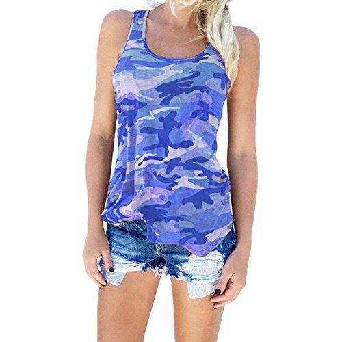 Vetements Dbardeurs Chemise HAPPYSS Grande Manche Bleu Fashion Shirt Blouse Tank Veste camouflage T Printemps Taille Femme Femme lgant Femme Ete sans 6q6rExnwSz