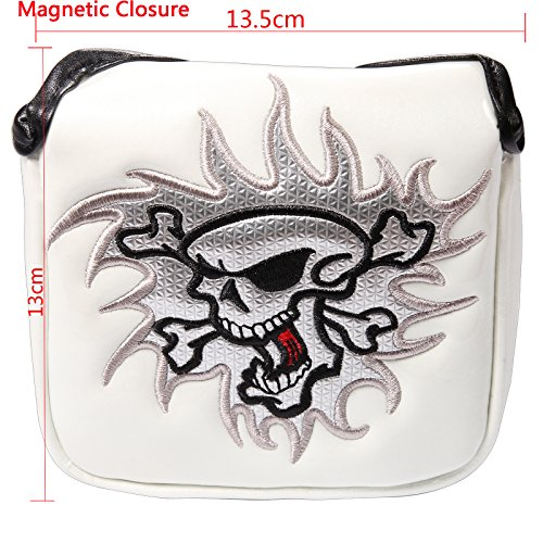 - Crtystal Leather Skull Head Embroidery Style Golf Club Headcover Set Protector for Taylormade Titleist Callaway Ping Cobra Mizuno (White Square Putter Cover)