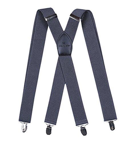 Bretelles X Forme 3.5CM Solide Avec 4 Clips Extra Fort Classique Sur Vêtement Costume Jeans Pantalons Elastique Réglable Pour Adulte Homme Gris