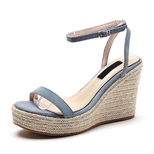 Con Cuña Las Zapatos Azul Cuero Sandalias Sbl Verano Oveja Altos Mujer Piel Mujeres Una Tacones De Hebilla f6nnYzH