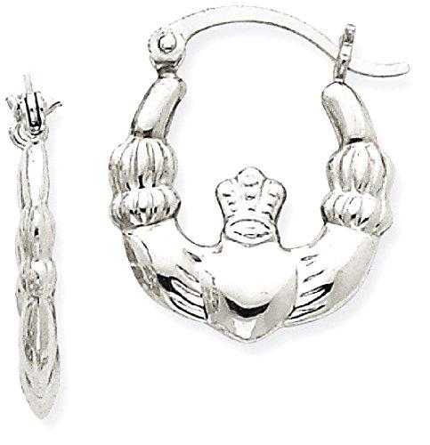 14k Gold Claddagh Earrings (ICE CARATS 14k White Gold Irish Claddagh Celtic Knot Hoop Earrings Ear Hoops Set Fine Jewelry Gift Set For Women Heart)