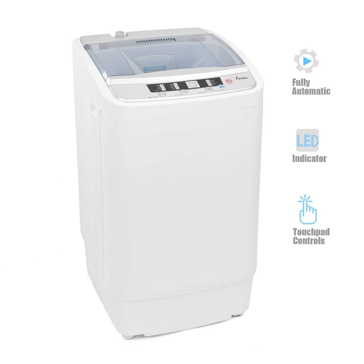 Ensue 7.7lbs Capacity Fully Automatic Portable Mini Washer, Spin Dryer