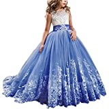 IBTOM CASTLE Flower Girls First Communion Dress Lace Kids Princess Wedding Bridesmaid Floor Length Layered Puffy Tulle Dresses Pageant Evening Long Maxi Dresses Royal Blue 10-11 Years