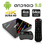 Android 9.0 TV Box, H96 Max plus 4GB RAM 64GB ROM Android Box with Backlight Keyboard Quad-Core RK3328 64Bits CPU Support 2.4G/5G Wifi/100M LAN/USB3.0/BT 4.0/3D /H265 4K Smart Android TV Box