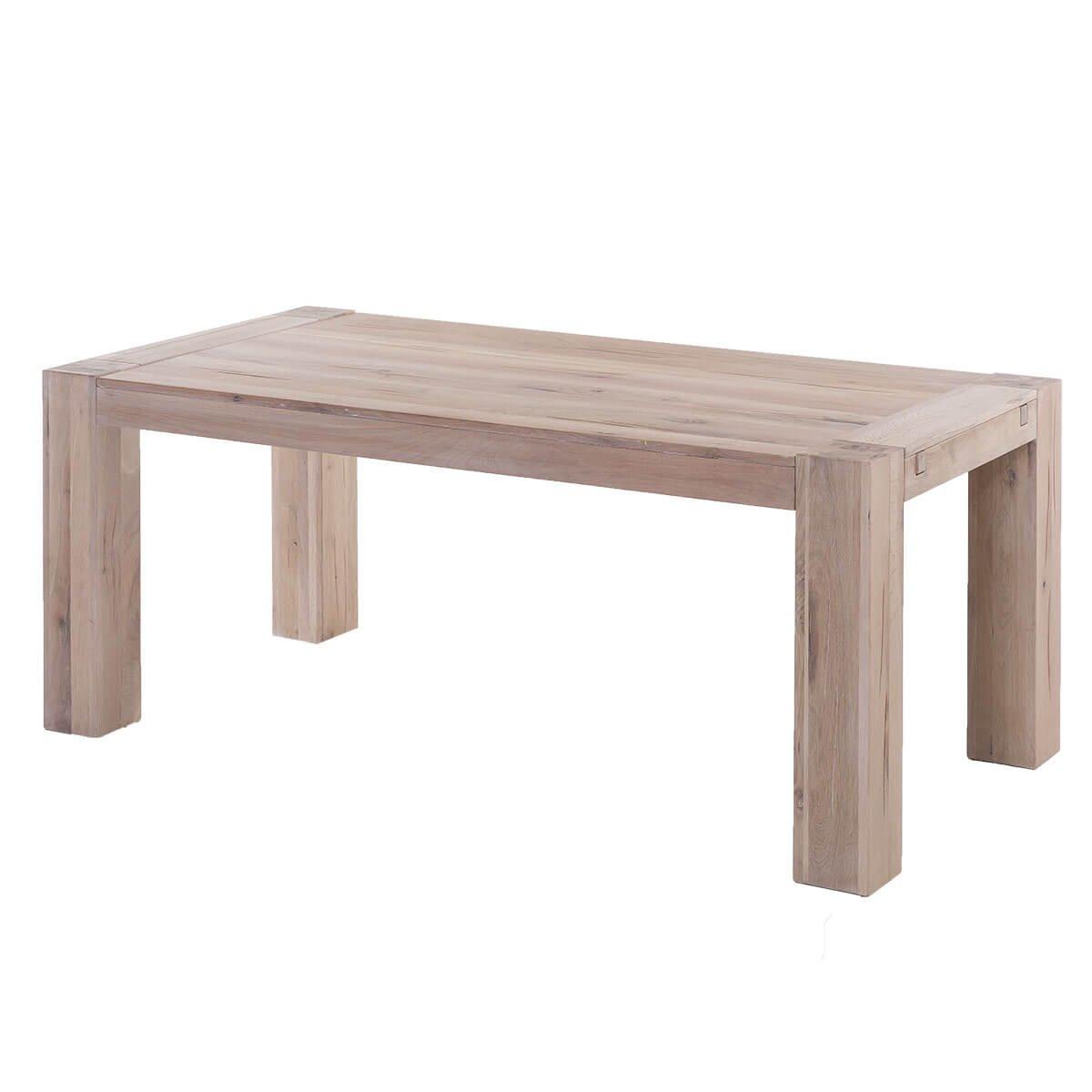 Esstisch Esszimmertisch Küchentisch Granby 200x100, Massivholz Holz Eiche massiv Balkeneiche White Wash, Breite 200 cm, Tiefe 100 cm, Höhe 77 cm