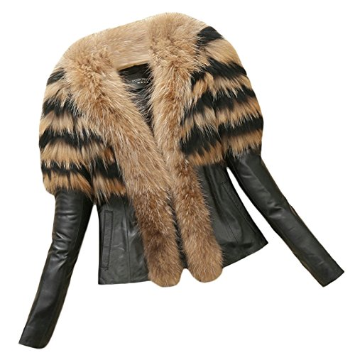 Lkous Winter Medium Length Women's Warm Fur Collar Coat Leather Cotton Jacket Trench Outwear Overcoat (Fur Leather Coat)