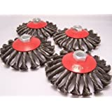 Canadian Tool and Supply (4-Pack) 5-Inch Knot Conical / Bevel Wire Wheel Brush 5/8-11nc (4xKBB-5)