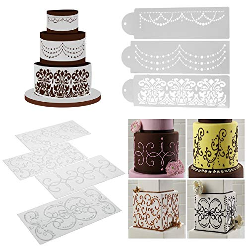 Wedding Cake Stencil Template, BENBO 7Pcs Cake Decorating Embossing Plastic Spray Floral Cake Cookie Fondant Side Baking Mesh Stencil Wedding Decor Tool (Mesh Cake Stencil)