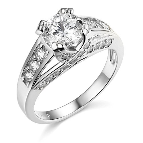 14k White Gold SOLID Wedding Engagement Ring – Size 7.5