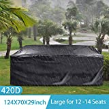 4. king do way Outdoor Patio Furniture Covers, 315x180x74cm 420D Oxford Polyester Extra Large Size Furniture Set Covers Fits to 12-14Seat Black 124''x70.87''x29.13''