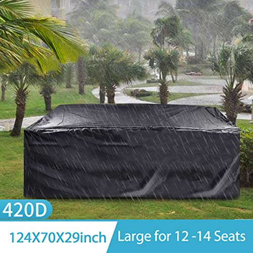 king do way Outdoor Patio Furniture Covers, 315x180x74cm 420D Oxford Polyester Extra Large Size Furniture Set Covers Fits to 12-14Seat Black 124''x70.87''x29.13''