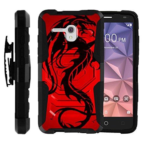 TurtleArmor | Alcatel One Touch Fierce XL Case | Alcatel Flint Case [Octo Guard] Dual Layer Case Holster Belt Clip Sturdy Kickstand Cover - Red Dragon