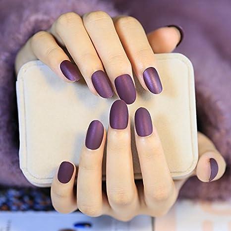 echiq terciopelo mate uñas postizas Nice forma vino morado Lady falso uñas Consejos tamaño mediano Grace diario estilo: Amazon.es: Belleza