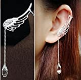 Earring NYKKOLA Charm Elegant Angel Wing Crystal Earrings Drop Dangle Ear Stud Cuff Clip